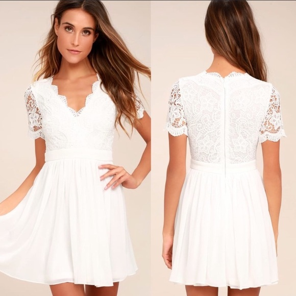 Lulu's Dresses & Skirts - Lulus Angel in Disguise White Lace Skater Dress